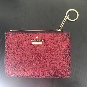 Kate Spade Maroon Glitter Keychain Wallet